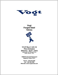 Vogt Price Sheet Cover